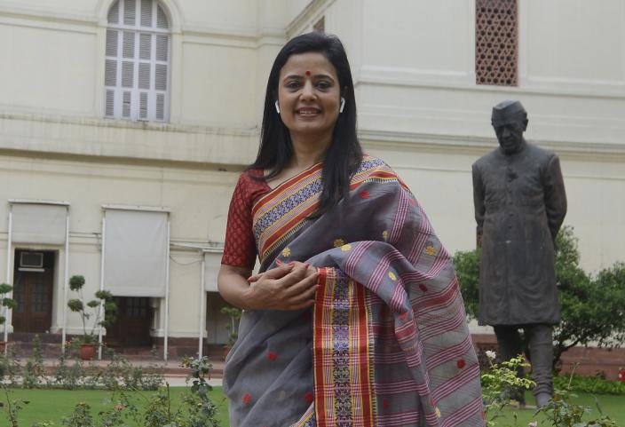 TMC MP Mahua Moitra clicked at the Parliament House during the Budget Session in New Delhi. (Photo by Pankaj Nangia/India Today Group/Getty Images)