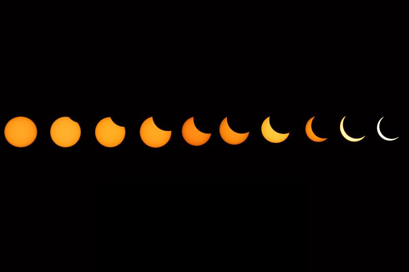 (EDITOR'S NOTE: Image composition) A view of solar eclipse as seen in the sky from Jaipur, Rajasthan, India,June 21, 2020.(Photo by Vishal Bhatnagar/NurPhoto via Getty Images)