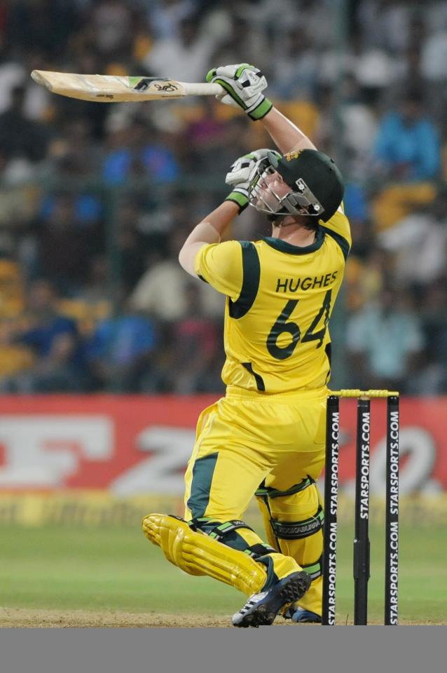 Australian player Phillip Hughes during the 7th ODI between India and Australia played at Chinnaswamy Stadium in Bangalore on Nov.2, 2013. (Photo: IANS)