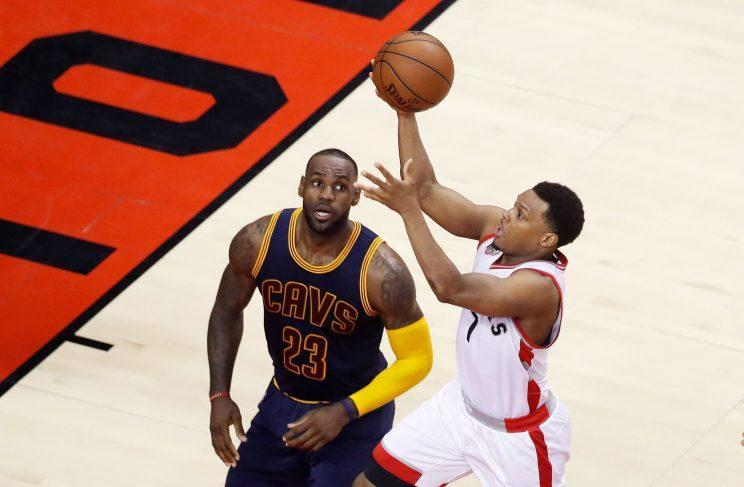 Lowry shoots over LeBron James during the Eastern Conference finals. (Getty Images)