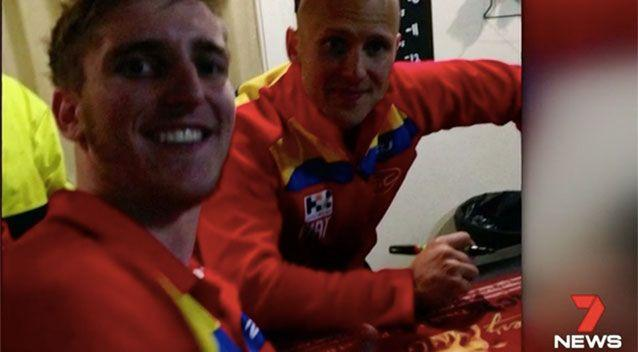 Mr Napier with Gary Ablett Junior. Source: 7 News