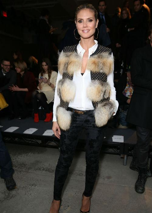 <b>Heidi Klum:</b> With fur being the hottest trend in fashion today, the otherwise impeccably dressed Heidi Klum was spotted donning a bizarre fur patch of a jacket at the Kenneth Cole Collection Fall 2013 fashion show during the Mercedes-Benz Fashion Week at 537 West 27th Street on February 7, 2013 in New York City.