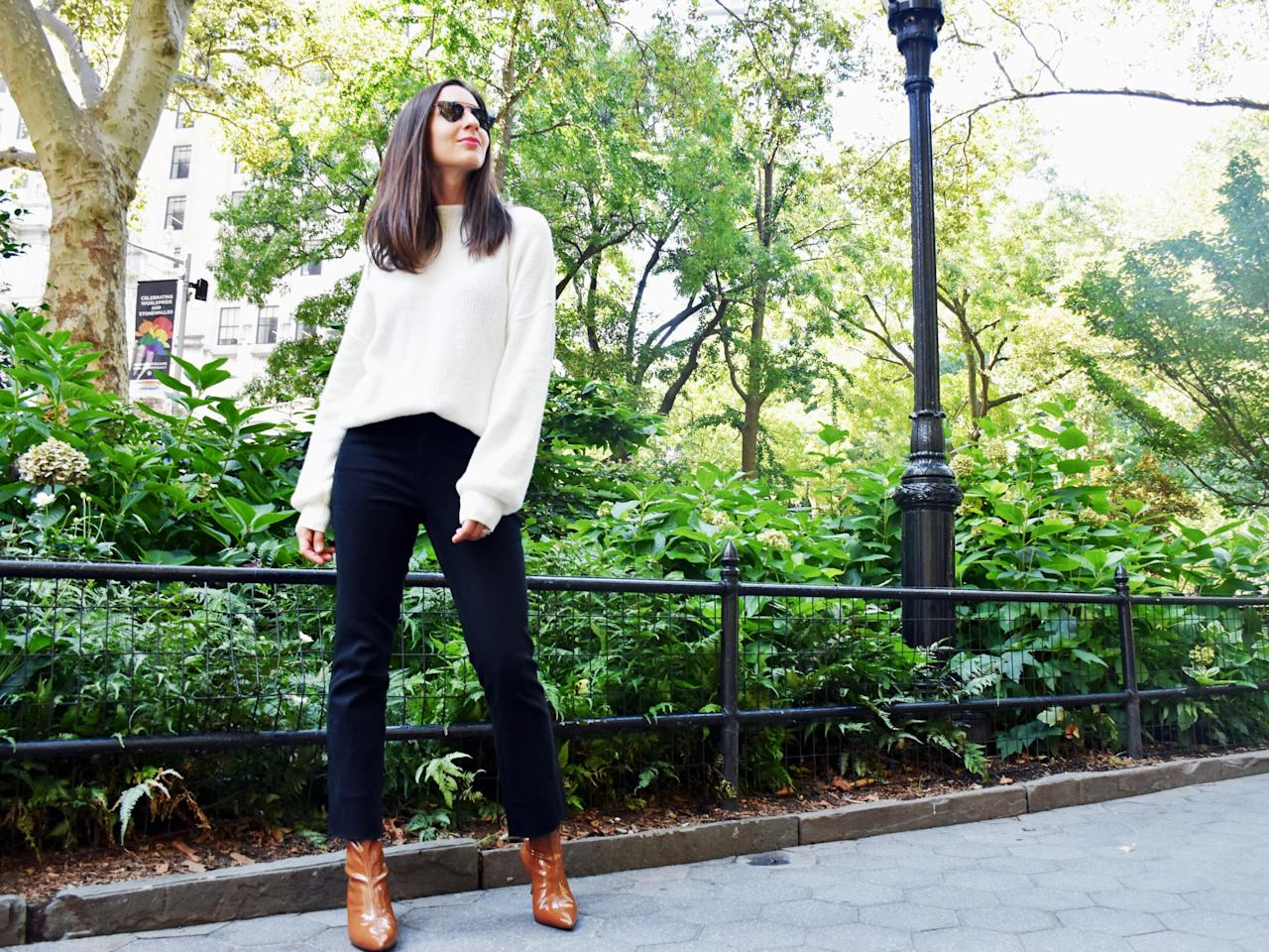 <p>Think outside the box when it comes to a wear-everywhere pair of boots. A brown patent style is a fashion-forward alternative to regular leather or black. </p> <p><em>On Dana: POPSUGAR at Kohl's sweater and jeans, Stuart Weitzman boots, and Illesteva sunglasses.</em></p>