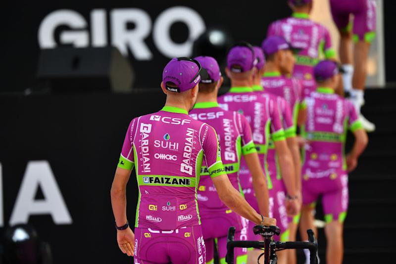 PALERMO ITALY OCTOBER 01 Giovanni Carboni of Italy Luca Covili of Italy Filippo Fiorelli of Italy Giovanni Lonardi of Italy Fabio Mazzucco of Italy Francesco Romano of Italy Alessandro Tonelli of Italy Filippo Zana of Italy and Team Bardiani CSF Faizane during the 103rd Giro dItalia 2020 Team Presentation in Archaeological Park of Segesta in Palermo City Temple of Segesta girodiitalia Giro on October 01 2020 in Palermo Italy Photo by Stuart FranklinGetty Images