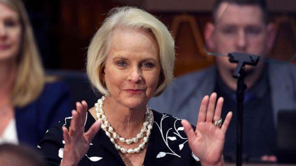 PHOTO: Cindy McCain, wife of former Arizona Sen. John McCain, waves to the crowd after being acknowledged by Arizona Gov. Doug Ducey during his State of the State address, Jan. 13, 2020, in Phoenix. (Ross D. Franklin/AP, FILE)