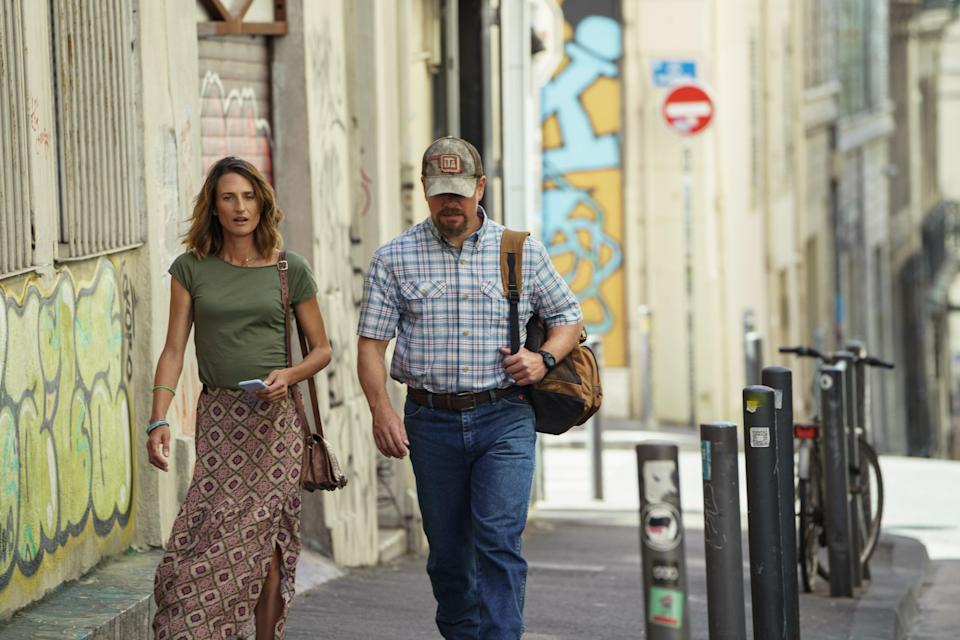Camille Cottin and Matt Damon in Stillwater, also in theaters July 30.