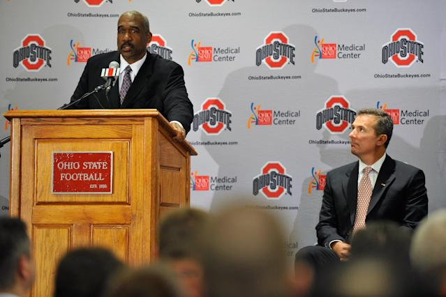 "Ohio State athletic director Gene Smith's attorney went on a social media rant on Thursday, writing that both Smith and football coach Urban Meyer ""fell on the sword"" in accepting their suspensions. (Photo by Jamie Sabau/Getty Images)"