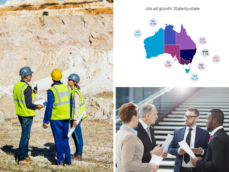 Employees in the mining and government and defence sectors saw the greatest growth across January 2018 to January 2019. <em>(Photos: Getty, Seek)</em>