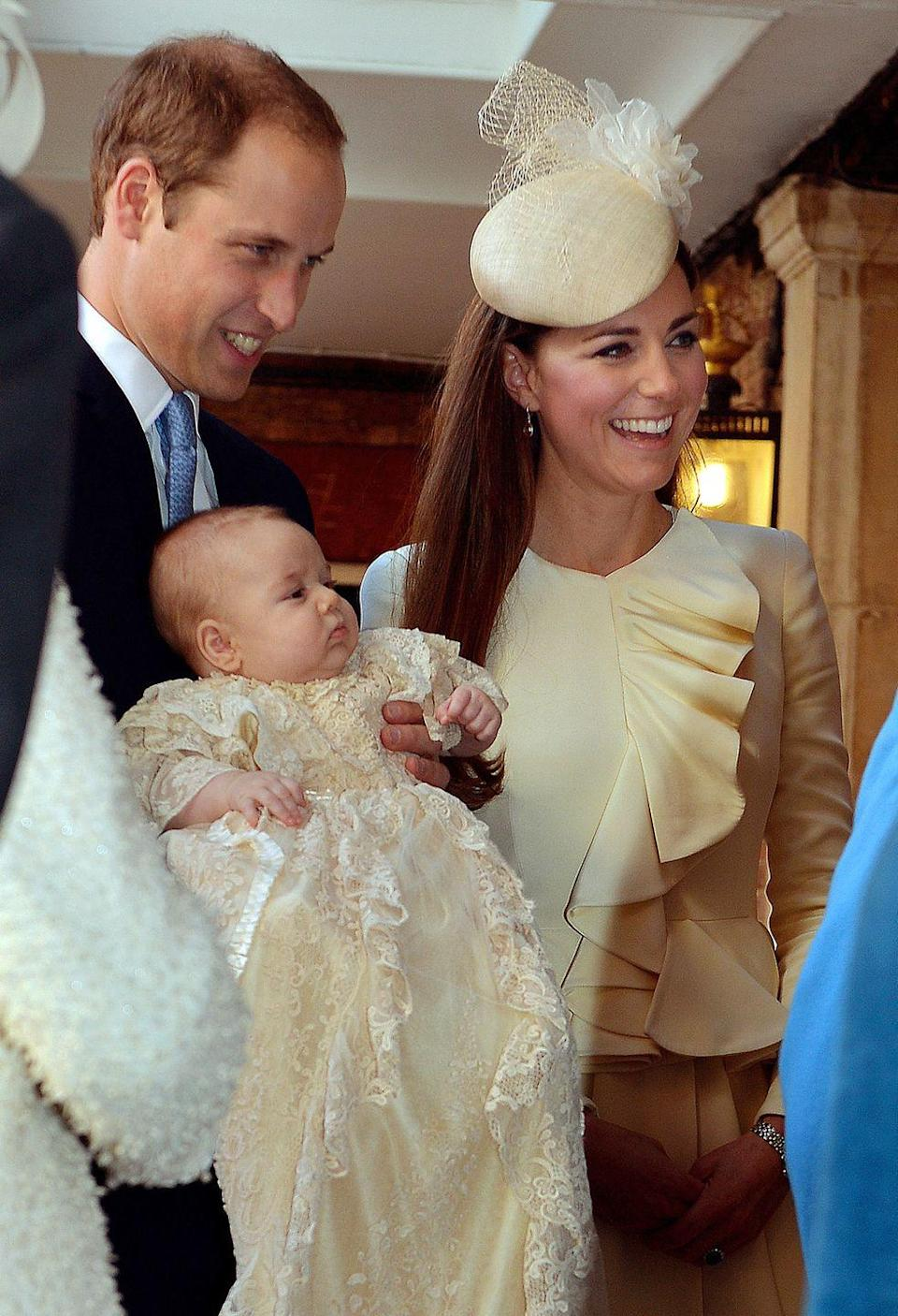<p>Two of the first people to see the duchess after she gave birth were her hairdresser, Amanda Cook-Tucker, and her personal assistant and stylist, Natasha Archer. The duchess wore a Jenny Packham blue-and-white polka dot dress after the birth in a nod to a similar dress Diana wore when she left the same hospital with Prince William more than 30 years earlier.</p><p><em>Left: </em>The Duke and Duchess of Cambridge hold Prince George at his christening on October 23, 2013.<br></p>