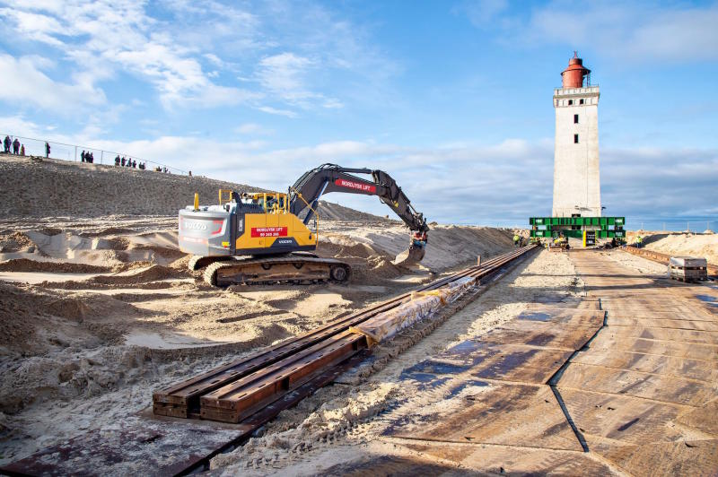 The Rubjerg Knude lighthouse during preparations for its relocation (Picture: AFP/Getty)
