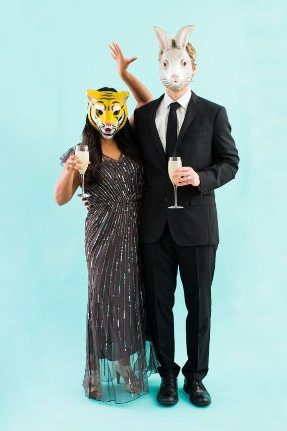 """<p>File this under """"easiest Halloween costumes to put together at the last minute."""" Just pick up a pair of animal masks and put on your party best.</p><p><a class=""""link rapid-noclick-resp"""" href=""""https://www.amazon.com/Woodland-Animal-Masks-Kids-Party/dp/B07MP7D7V9/?tag=syn-yahoo-20&ascsubtag=%5Bartid%7C10055.g.2625%5Bsrc%7Cyahoo-us"""" rel=""""nofollow noopener"""" target=""""_blank"""" data-ylk=""""slk:SHOP ANIMAL MASKS"""">SHOP ANIMAL MASKS</a></p><p><em><a href=""""http://www.brit.co/diy-couples-costumes-2014/"""" rel=""""nofollow noopener"""" target=""""_blank"""" data-ylk=""""slk:Get the tutorial at Brit + Co »"""" class=""""link rapid-noclick-resp"""">Get the tutorial at Brit + Co »</a></em> </p>"""