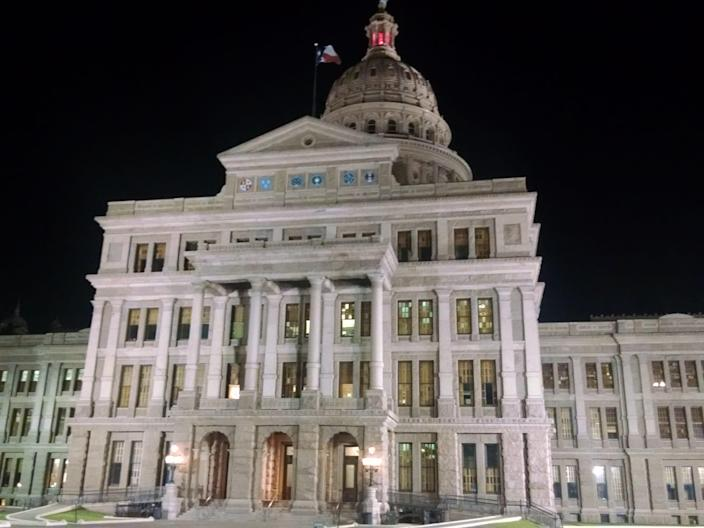 The Texas Capitol at night
