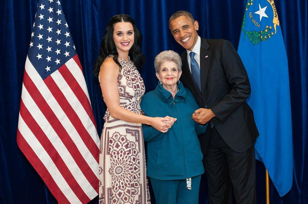 "<p>Perry and her grandmother pose with Obama the day before he is elected for his second term. ""May I exclusively present what might be the cutest photo ever taken,"" she <a rel=""nofollow"" href=""https://twitter.com/katyperry/status/265695028834361344/photo/1"">wrote on Twitter</a>. ""Me, Gma & POTUS! Happy voting tomorrow!"" <br></p>"