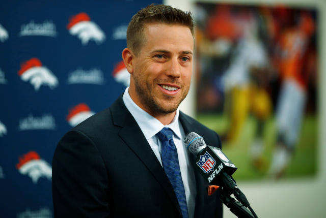 "FILE - In this March 16, 2018, file photo, Case Keenum smiles during an NFL football news conference introducing him as the new starting quarterback of the Denver Broncos, in Englewood, Colo. Keenum couldn't wait to get out of Minnesota. Before coming to Colorado for the Broncos' offseason program which began this week, Keenum made a stop in Minneapolis to accept the ""Uncommon Award"" from Tony Dungy at Hazeltine National Golf Club, on Friday, April 13, 2018. The only downer was the blizzard struck the nation's midsection. ""It dumped like 25 inches on us in Minnesota last weekend,"" Keenum said. ""So, I was ready to get out of there and get to Denver and the sunshine.""(AP Photo/David Zalubowski, File)"