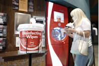 <p>Disinfecting wipes are seen at AMC DINE-IN Thoroughbred 20 on August 20 in Franklin, Tennessee.</p>
