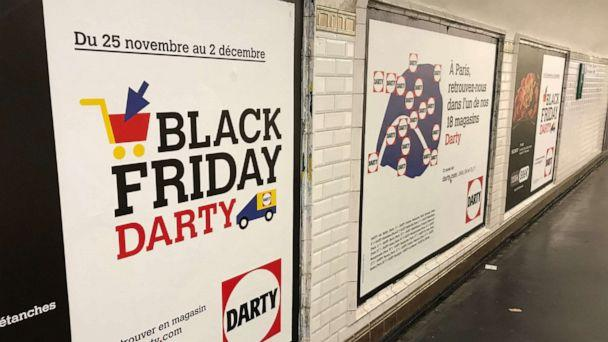 PHOTO: A Black Friday advertisement can be seen in the Paris subway system on November 27, 2019. (Ibtissem Guenfoud/ABC News)