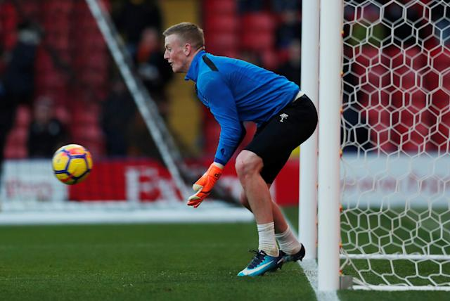 """Soccer Football - Premier League - Watford vs Everton - Vicarage Road, Watford, Britain - February 24, 2018 Everton's Jordan Pickford during the warm up before the match Action Images via Reuters/Andrew Couldridge EDITORIAL USE ONLY. No use with unauthorized audio, video, data, fixture lists, club/league logos or """"live"""" services. Online in-match use limited to 75 images, no video emulation. No use in betting, games or single club/league/player publications. Please contact your account representative for further details."""