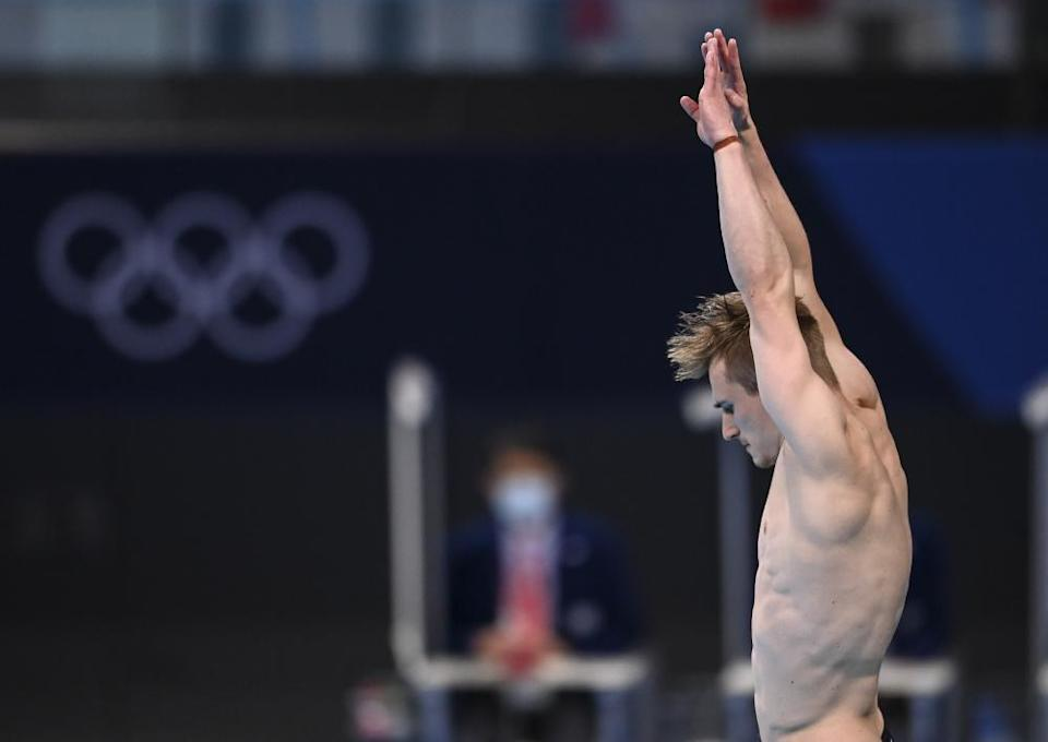 Jack Laugher of Great Britain competes during the men's 3m springboard final.