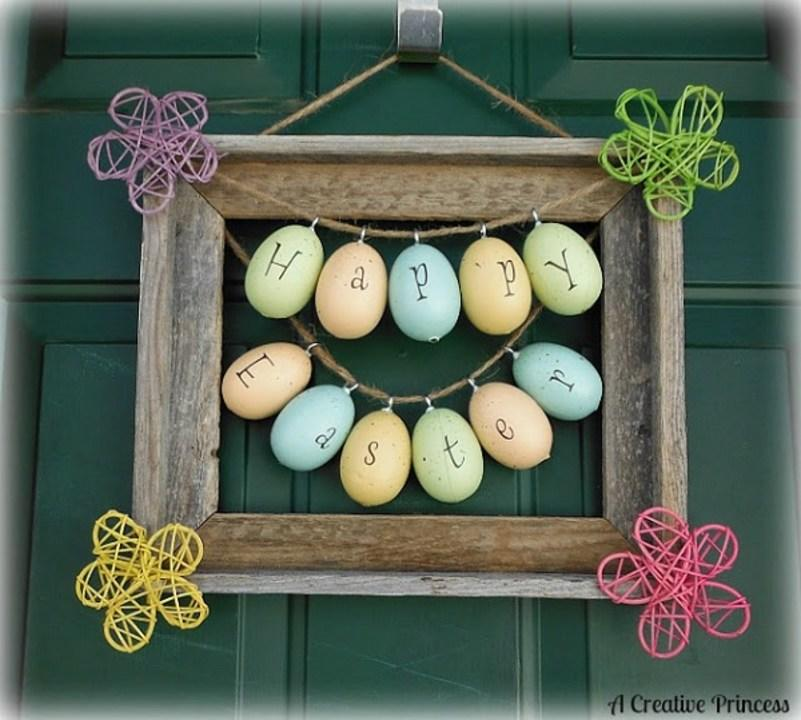 It won't even take a dozen eggs to make this adorable framed salutation to greet your Easter guests.