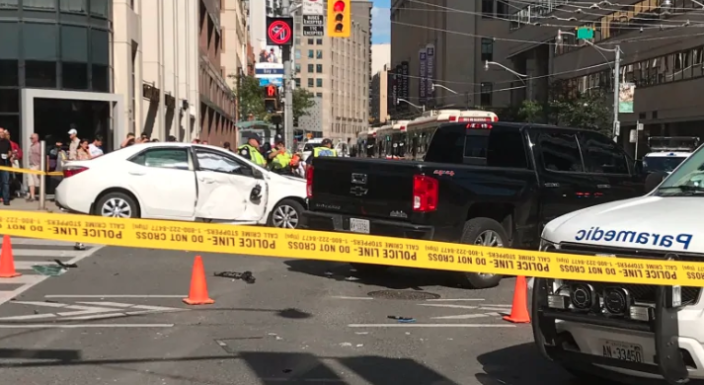 Toronto police tweeted this image following the serious collision. Several pedestrians were injured and multiple vehicles were damaged on Thursday afternoon.
