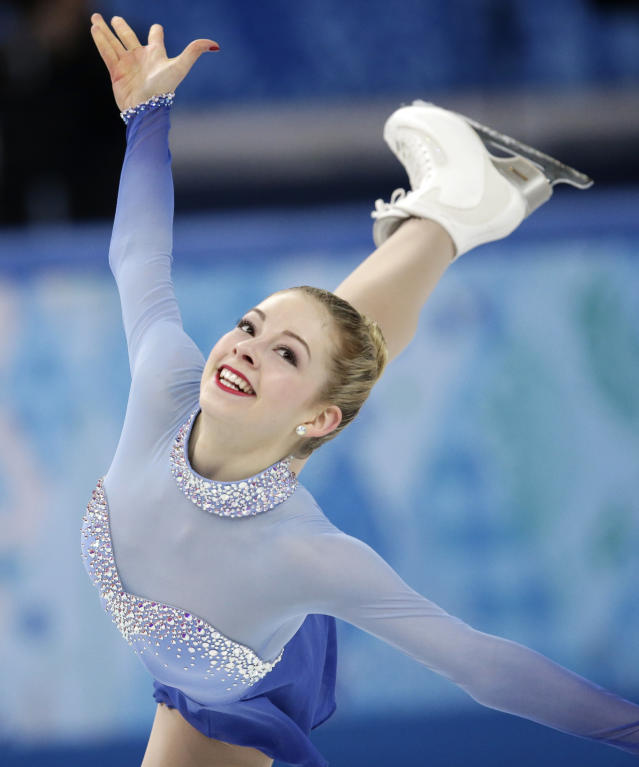 Gracie Gold of the United States competes in the women's team free skate figure skating competition at the Iceberg Skating Palace during the 2014 Winter Olympics, Sunday, Feb. 9, 2014, in Sochi, Russia. (AP Photo/Bernat Armangue)