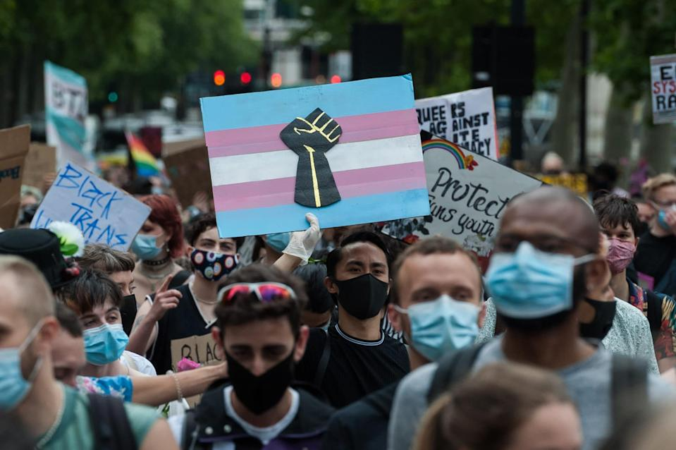 The June 2020 Black Trans Lives Matter march in central London saw thousands celebrate the Black trans community and commemorate the Black trans lives lost. (Wiktor Szymanowicz/Barcroft Media via Getty Images)