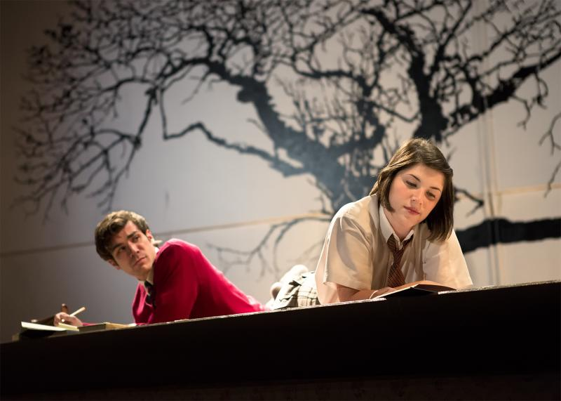 """This photo released by Richard Hillman PR shows Cameron Scoggins, left, and Justine Salata, in a scene from Brian Friel's """"Lovers,""""  performing off-Broadway in a The Actors Company Theatre production at The Beckett Theatre, Theatre Row in New York.  (AP Photo/Richard Hillman PR, Hunter Canning Photography)"""