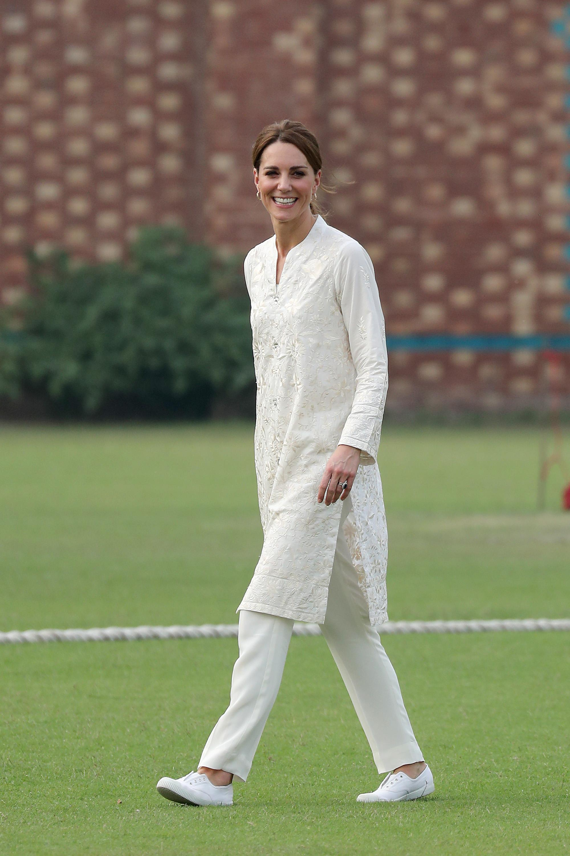 Kate's trainers were by London-based brand Hampton Canvas. [Photo: Getty]