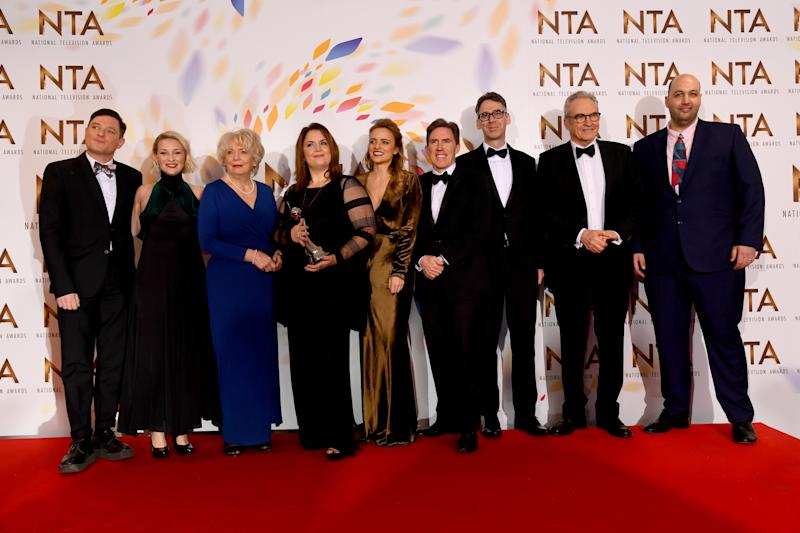 "Mathew Horne, Joanna Page, Alison Steadman, Ruth Jones, Laura Aikman, Rob Brydon, Robert Wilfort, Larry Lamb and guest, accepting the Impact Award for ""Gavin and Stacey, Christmas Special"", pose at the National Television Awards 2020 at The O2 Arena on January 28, 2020 in London, England. (Photo by Dave J Hogan/Getty Images)"