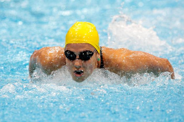 LONDON, ENGLAND - JULY 30: Stephanie Rice of Australia competes in heat 5 of the Women's 200m Individual Medley on Day 3 of the London 2012 Olympic Games at the Aquatics Centre on July 30, 2012 in London, England. (Photo by Adam Pretty/Getty Images)