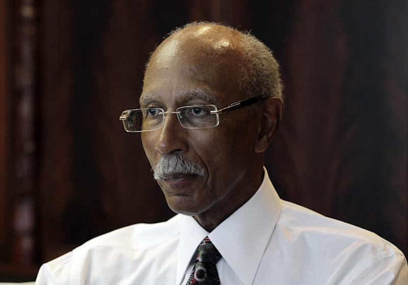 Detroit Mayor Dave Bing listens to a question during an interview with the Associated Press in Detroit, Thursday, June 14, 2012. (AP Photo/Paul Sancya)