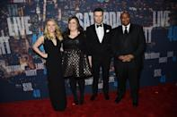 Current Saturday Night Live castmembers Kate McKinnon, Adiy Bryant, Taran Killam, and Keenan Thompson are usually pictured in crazy costumes so seeing them all dressed up is a nice change of pace.