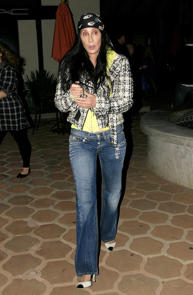 "Xtina's ""Burlesque"" co-star Cher was also spotted out and about in an awful outfit, featuring a skull-adorned do-rag. Jose Perez/<a href=""http://www.x17online.com"" target=""new"">X17 Online</a> - July 2, 2010"