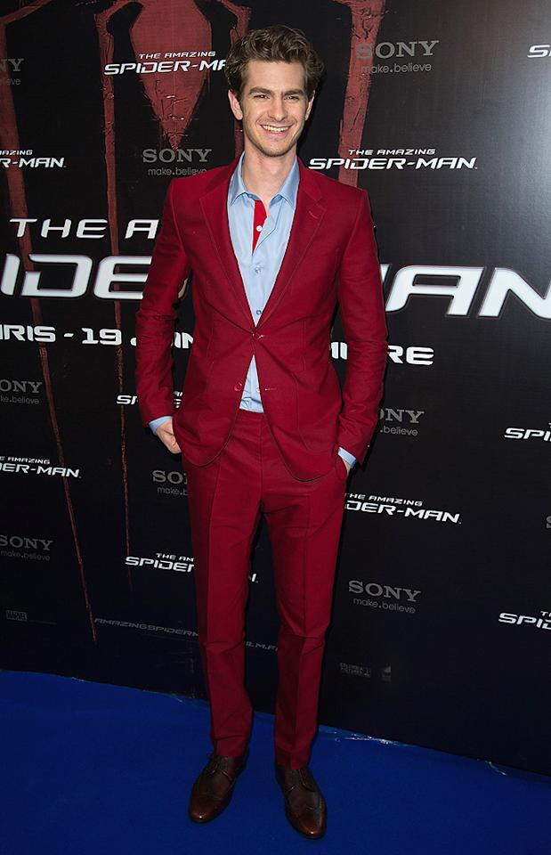 "Also looking fab this week was Andrew Garfield, who dared to wear a cranberry-colored Balenciaga suit to the Parisian premiere of his upcoming action flick, <a target=""_blank"" href=""http://movies.yahoo.com/movie/the-amazing-spiderman/"">""The Amazing Spider-Man.""</a> A light blue shirt -- with contrasting red trim -- brown brogues, and a smile completed Spidey's dapper ensemble. (6/19/2012)"