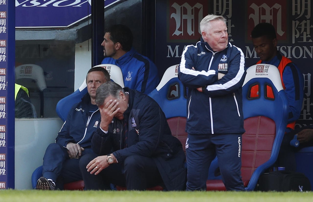 "Britain Soccer Football - Crystal Palace v Leicester City - Premier League - Selhurst Park - 15/4/17 Crystal Palace manager Sam Allardyce looks dejected as assistant manager Sammy Lee looks on Action Images via Reuters / John Sibley Livepic EDITORIAL USE ONLY. No use with unauthorized audio, video, data, fixture lists, club/league logos or ""live"" services. Online in-match use limited to 45 images, no video emulation. No use in betting, games or single club/league/player publications.  Please contact your account representative for further details."
