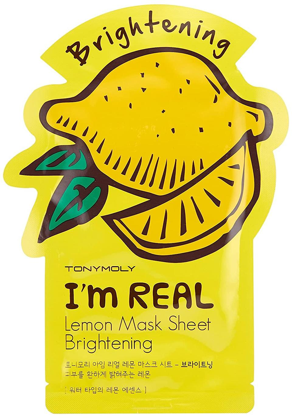 """<br> <br> <strong>TonyMoly</strong> I'm Real Lemon Radiance Mask Sheet (10-Pack), $, available at <a href=""""https://amzn.to/2VBKvSA"""" rel=""""nofollow noopener"""" target=""""_blank"""" data-ylk=""""slk:Amazon"""" class=""""link rapid-noclick-resp"""">Amazon</a>"""