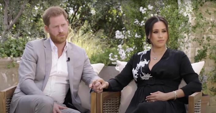 Prince Harry and Meghan Markle during sit-down interview with Oprah Winfrey.