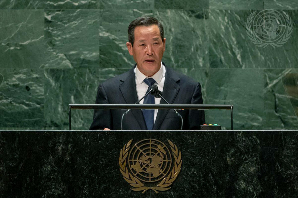In this photo released by the United Nations, North Korea's U.N. Ambassador Kim Song speaks during the 76th session of the United Nations General Assembly, Monday, Sept. 27, 2021, at U.N. headquarters. (Cia Park/United Nations via AP)