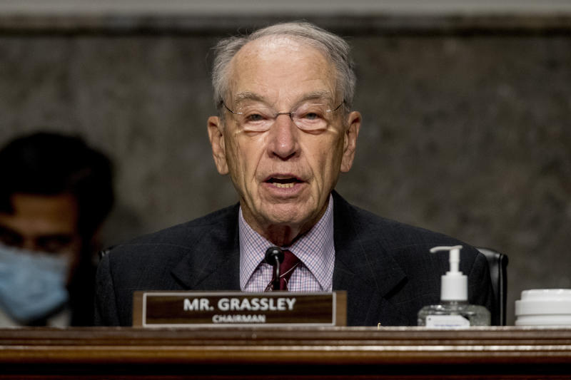 FILE - In this June 17, 2020, file photo, Sen. Chuck Grassley, R-Iowa, speaks during a Senate Finance Committee hearing on U.S. trade on Capitol Hill in Washington. Grassley is among GOP officials from New Hampshire to Mississippi to Iowa who quickly pushed back against President Donald Trump's suggestion that it may be necessary to delay the November election — which he cannot do without congressional approval — because of the unfounded threat of voter fraud. (AP Photo/Andrew Harnik, Pool, File)