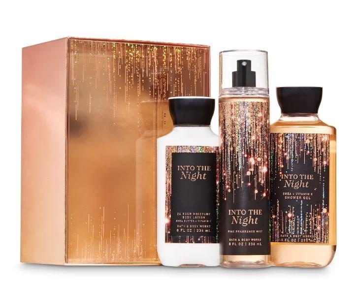 """<p>If the festive, twinkling bottles don't kick you into the holiday spirit, the sweet, uplifting scent inside them will. One of the newest scent in the Bath & Body Works lineup, it features a warm and elevating blend of dark berries, midnight jasmine, and rich amber that can be lathered (via shower gel or body lotion) or spritzed (via fragrance mist) to instantly lift your mood and senses.</p> <p><strong>$30</strong> (<a href=""""https://www.bathandbodyworks.com/p/into-the-night-gift-box-set-025131299.html?cgid=into-the-night#start=19"""" rel=""""nofollow"""">Shop Now</a>)</p>"""