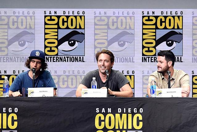 <p>Kyle Mooney, Beck Bennett and screenwriter Kevin Costello at Comic-Con panel for their film on July 20, 2017, in San Diego. (Photo: Kevin Winter/Getty Images) </p>