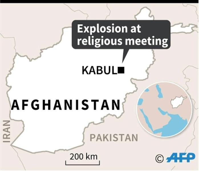 Map locating Kabul where at least 40 people were killed in an explosion at a meeting of top clerics on Tuesday