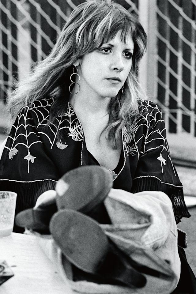 <p>Stevie Nicks in 1976 between sets at Day on the Green, a recurring concert that took place in Oakland, California. </p>