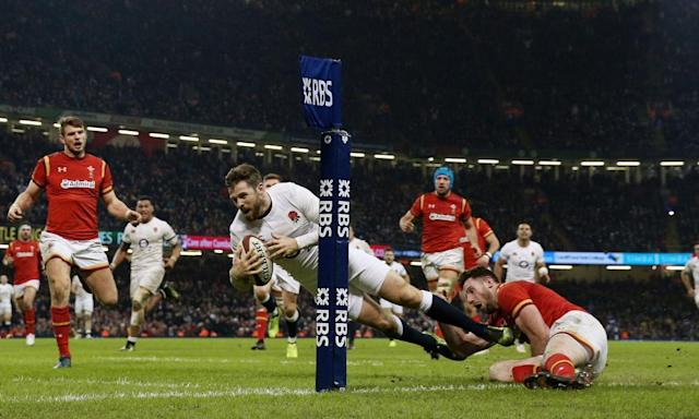 """<span class=""""element-image__caption"""">Elliot Daly scores a try for England against Wales in Cardiff in the Six Nations. But this was a rare moment of finesse in a tournament full of fury and commitment.</span> <span class=""""element-image__credit"""">Photograph: David Davies/PA</span>"""