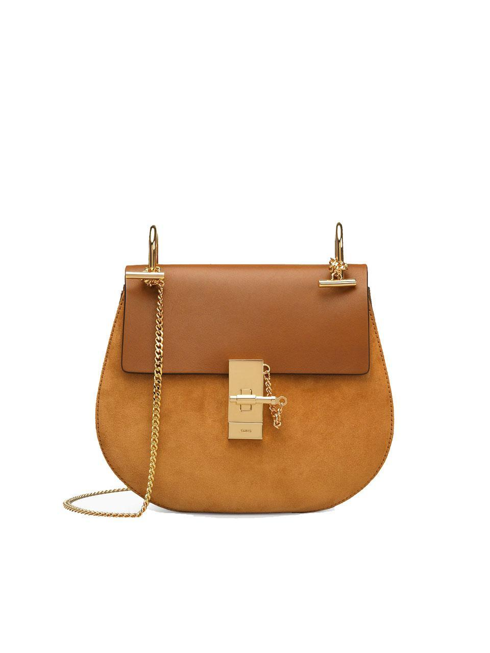 <p>The Drew Shoulder Bag in suede calfskin and smooth calfskin, $1,950. (Photo: Chloé) </p>