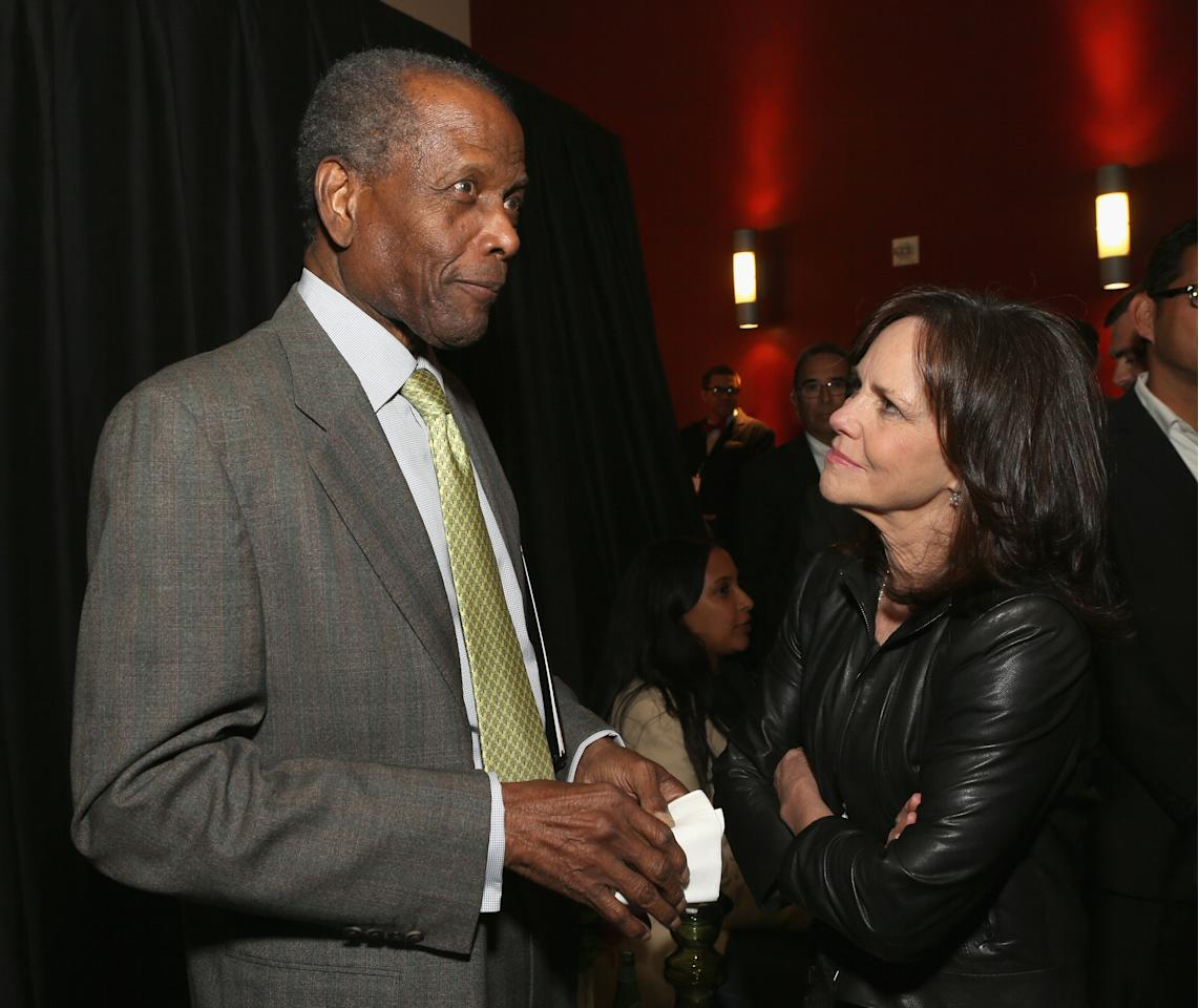 HOLLYWOOD, CA - APRIL 24:  (L-R) Actors Sidney Poitier and Sally Field attend Target Presents AFI's Night at the Movies at ArcLight Cinemas on April 24, 2013 in Hollywood, California.  (Photo by Jesse Grant/Getty Images for AFI)