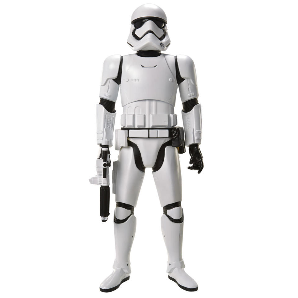 <p>This large-scale 'Big Fig' First Order stormtrooper is 48 inches tall and comes ready for combat with a signature blaster. It's also equipped with a motion detection feature and will recite movie lines and make sound effects as its human owner approaches.</p>