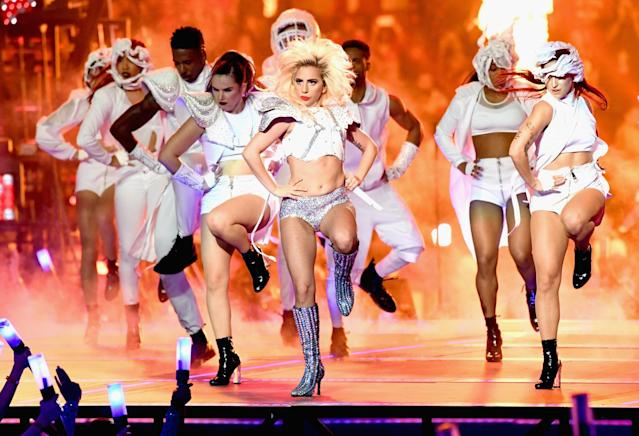 <p>Musician Lady Gaga performs onstage during the Pepsi Zero Sugar Super Bowl LI Halftime Show at NRG Stadium on February 5, 2017 in Houston, Texas. (Photo by Jeff Kravitz/FilmMagic) </p>