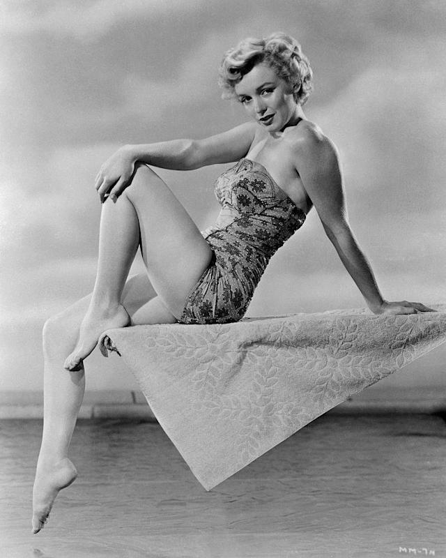 Marilyn Monroe in a strapless one-piece. (Photo: Getty Images)