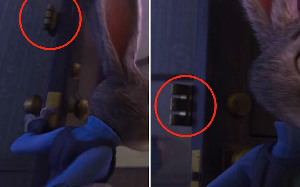 <p>When Judy leaves her apartment in the morning, as she unlocks the door the deadbolt lock is higher up on the door. Just as Judy opens the door we can see that although the interior deadbolt is affixed higher, its key cylinder on the exterior side is much lower. Credit: Disney </p>